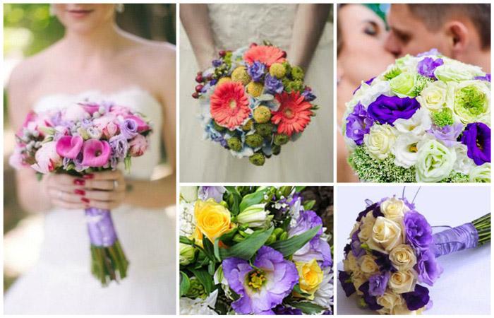 Свадебный букет из полевых цветов сиреневый цвет фото